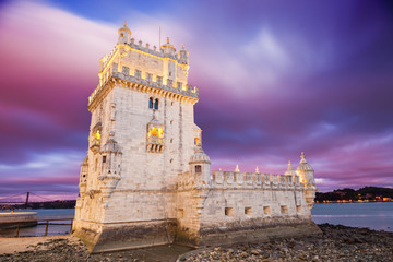 Belem tower at sunset. Lisbon, Portugal