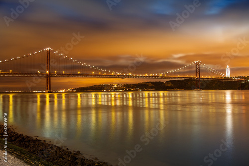 25 de Abril bridge over Tagus river in Lisbon at night