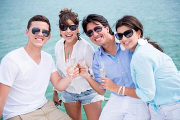 Group of friends enjoying the summer