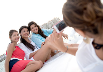 Group of girls on a yacht
