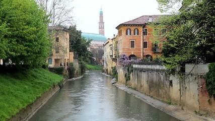River running through italian town Vicenza