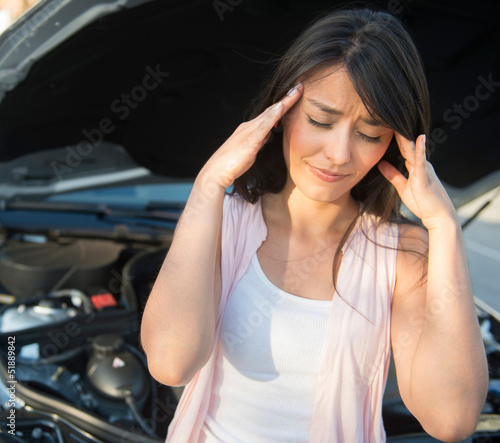 Woman having car problems