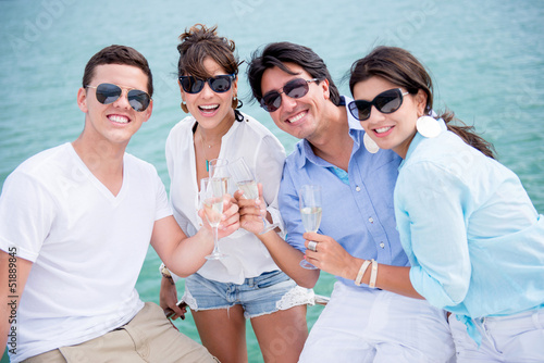 Group of friends enjoying the summer