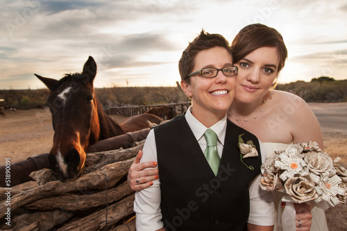 Same Sex Newlyweds with Horse