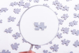 Magnifying Glass and Single Puzzle Piece