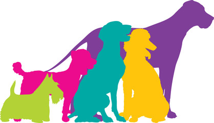 Dog Silhouettes Colour