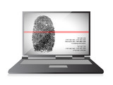 laptop computer scanning a finger print