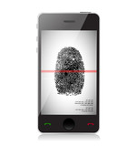 Mobile phone scanning a finger print