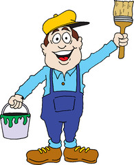 Cartoon image of a painter ready for work.