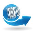 code-barres sur bouton web bleu