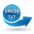 24 heure sur 24 sur bouton web bleu