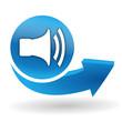 volume sur bouton web bleu