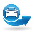 voiture sur bouton web bleu