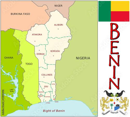 Benin Africa Europe emblem map symbol administrative divisions