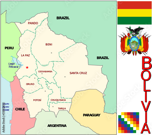 Bolivia South America  emblem map symbol  divisions