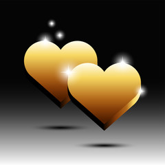 Gold plate with love shape
