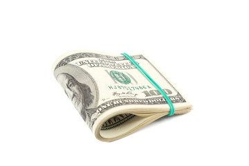 Roll of money isolated on white background. One hundred dollar b