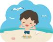 海辺ではしゃぐ男の子