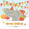 Happy Birthday card with cute little elephant