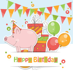 Happy Birthday card with cute little pig