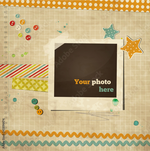 Scrap template of vintage worn  design with photo frame