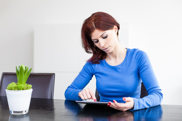 Attractive woman with Tablet PC
