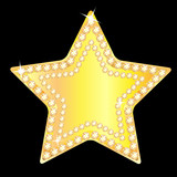 gold star with sparkling stones on a black background