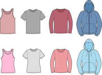 Vector illustration of men's and women's casual clothes