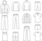Vector illustration of women's casual clothes. Sport style