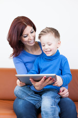 Mother and Son with Tablet PC