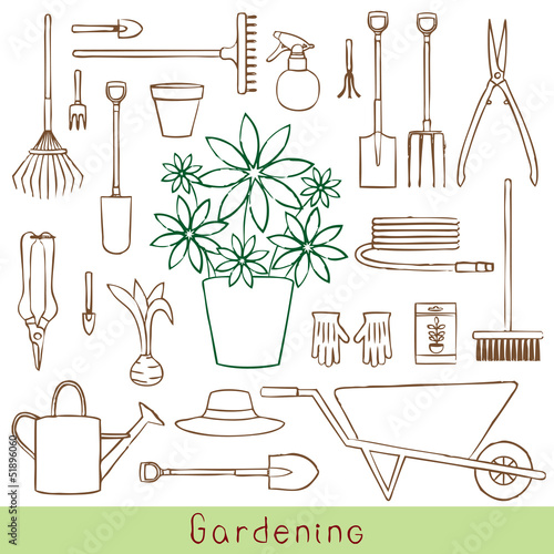 Hand drawn gardening related objects