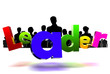 Leader 3D icon have people a black in the background