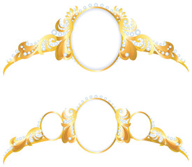 Vector frame in the form of pendants for jewelry gold crown