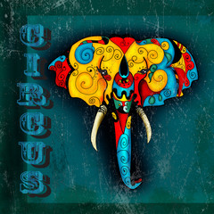 Circus poster with elephant