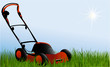 Nature background wih  lawnmover