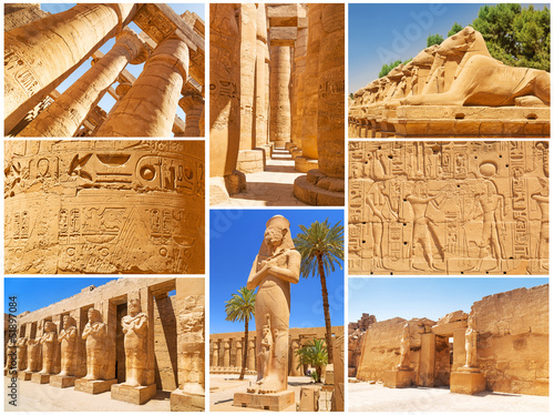 Collage of Karnak architecture in Luxor, Egypt