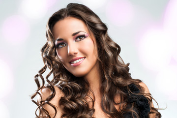 Beauty portrait of attractive brunette.