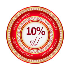 Label on 10 percent discount