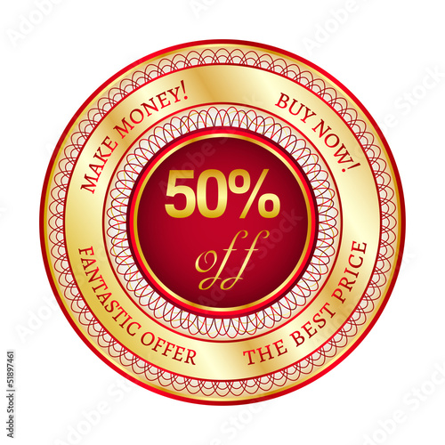 Label on 50 percent discount