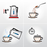 Icon set for process of brewing tea, coffee, other hot drinks
