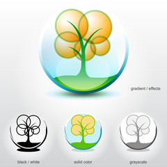 Stylized tree on ground inside of sphere. Vector logo element