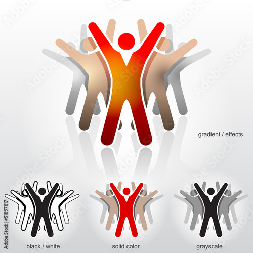 Group of abstract people with their hands up. Vector logo design