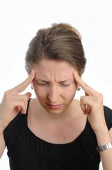 Junge,bruenette Frau hat Kopfschmerzen.
