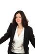 nice woman with black jacket, portrait in studio