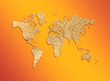 world map from texture of a tree on an orange background