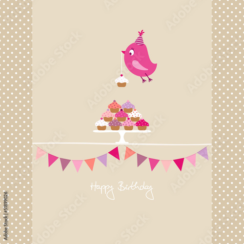 Pink Bird Cupcakes Festoons Beige Dots