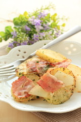 european food, bacon and potato pan fried