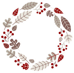 Xmas retro holiday wreath isolated on white