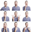 young man funny face expressions composite isolated on white bac