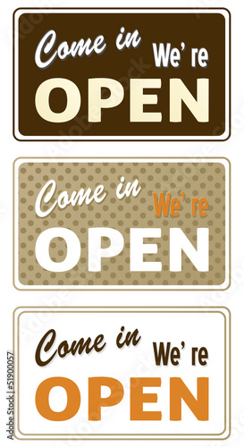 Set of retro open signs isolated on white